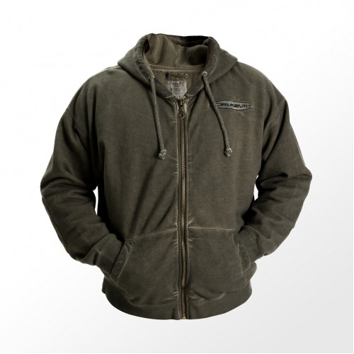 DELKEVIC GREEN DIRTY WASH ZIP HOODY SMALL